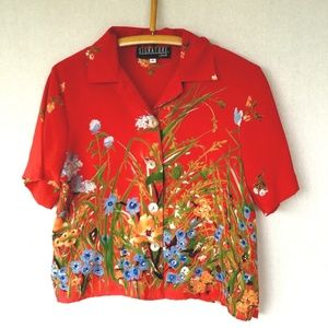 Signature by Jerell Blouse Floral Print Rockabilly